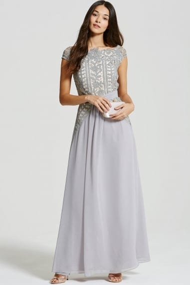 Grey Crochet Lace Drape Front Maxi dress