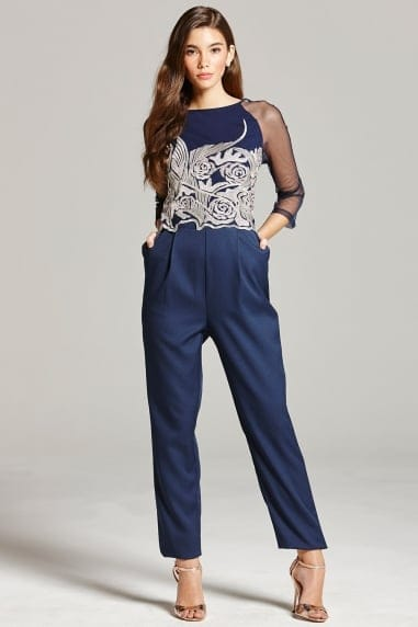 Navy Embroidered Sheer Jumpsuit