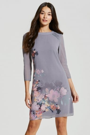 Grey Floral Print Shift Dress