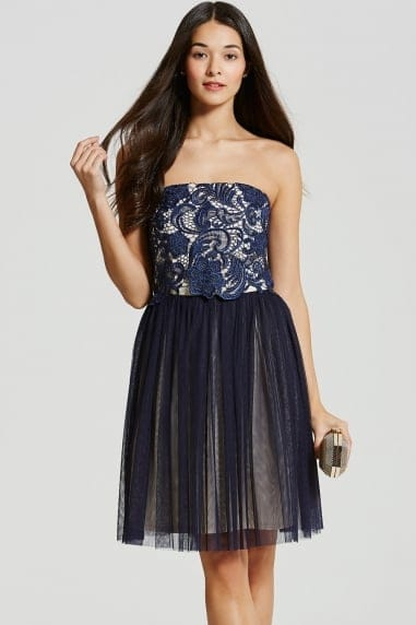 Navy Lace Overlay Bandeau Prom Dress