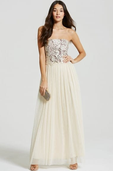 Beige Lace Overlay Bandeau Maxi Dress
