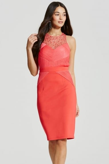 Coral Embellished Pleat Bodycon Midi Dress