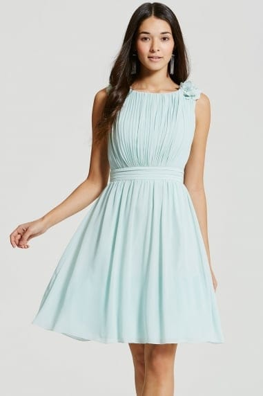 Mint Floral Applique Prom Dress
