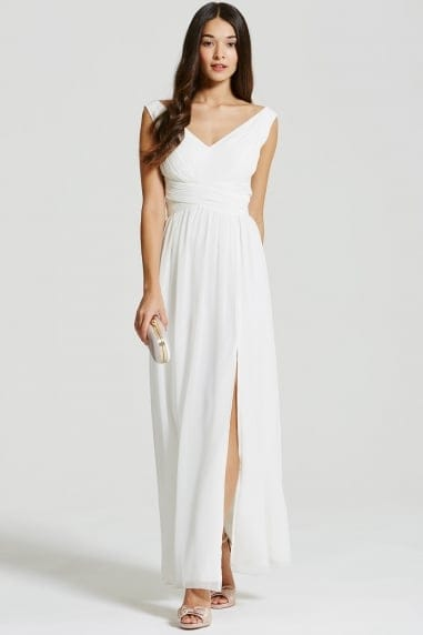 White Empire Line Maxi Dress