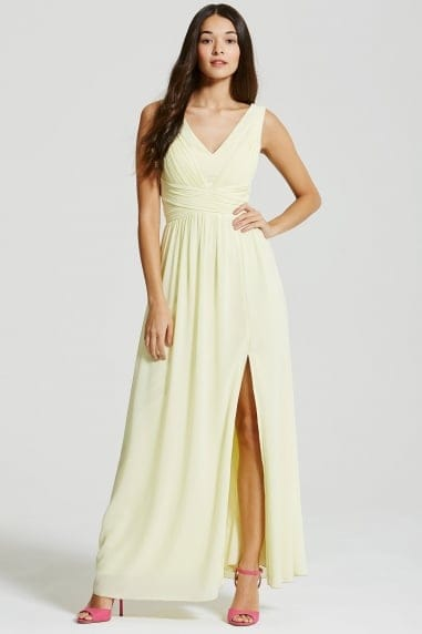 Lemon Empire Line Maxi Dress