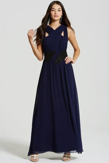 Navy and Black Applique Crossover Maxi Dress