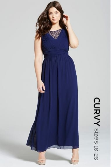 Navy Empire Line Maxi Dress