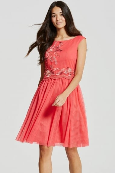Coral Embroidered Mesh Prom Dress