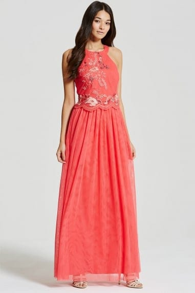 Coral Embroidered Halter Maxi Dress