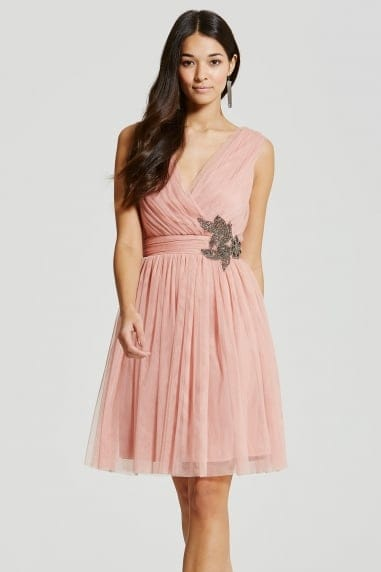 Peach Embellished Prom Dress