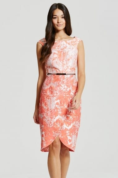 Coral Jacquard Keyhole Back Midi Dress