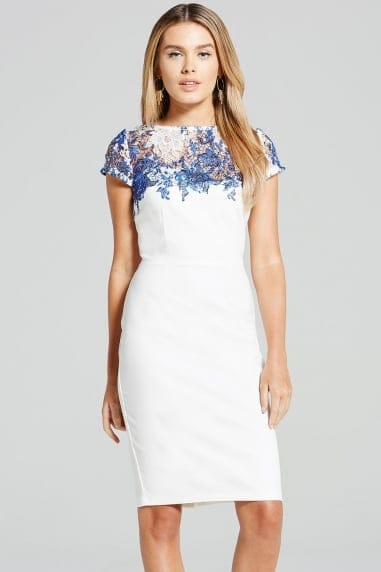 Blue and White Sheer Crochet Lace Dress