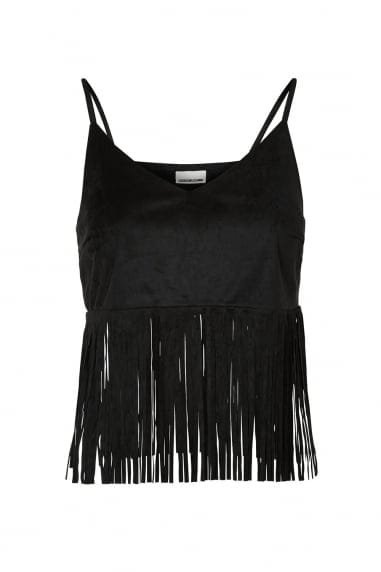 Noisy May Black Fringe Crop Top