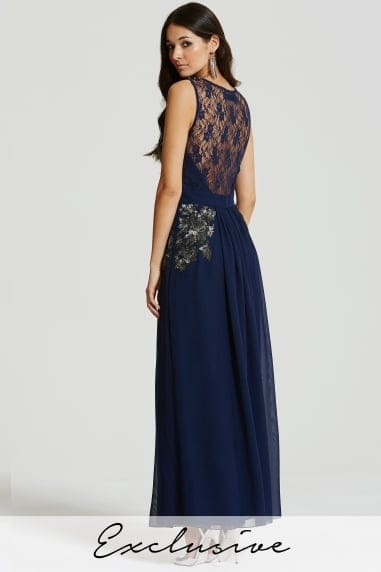Blue Embellished Sheer Lace Maxi Dress