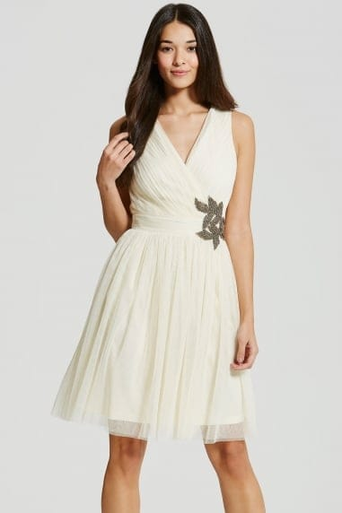 Cream Embellished Prom Dress