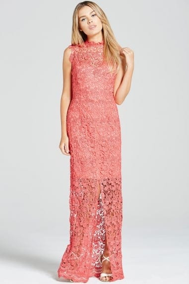 Coral Crochet Split Front Maxi Dress