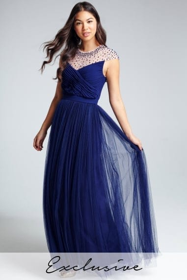 Navy Beaded Maxi Dress