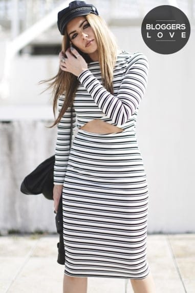 Monochrome Stripe Cut Out Body-Con Dress