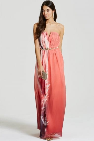 Feather Print Bandeau Maxi Dress