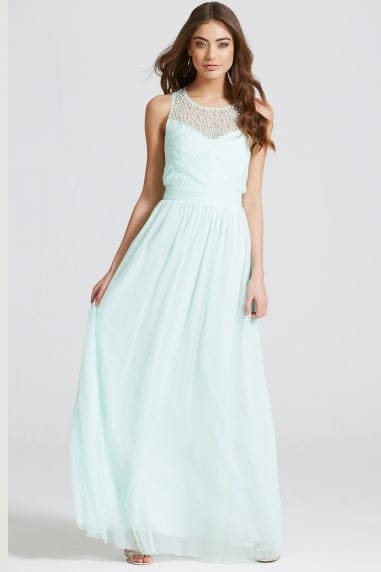 Seafoam Embellished Pleat Detail Maxi Dress
