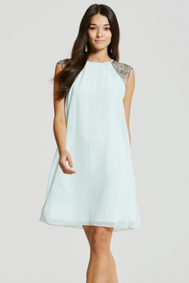 Seafoam Embellished Open Back Shift Dress