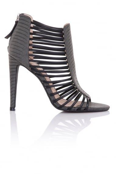 Vesta Grey Snake Caged Shoe Boots