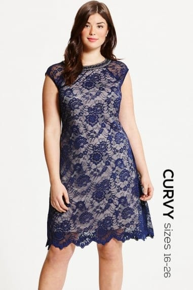 Navy Lace Embellished Neck Shift Dress