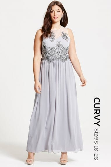 Grey Embroidered Mesh Maxi Dress