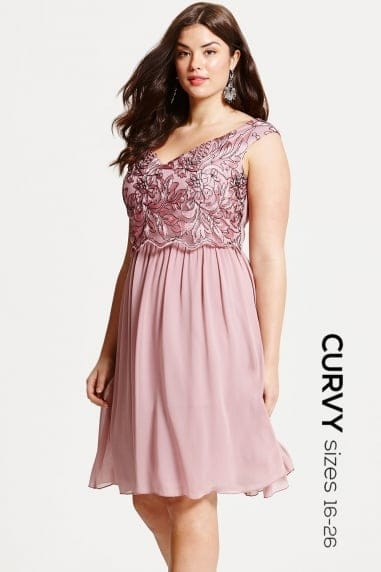 Dusty Pink Embroidered Prom Dress