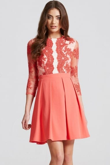 Coral Lace Fit and Flare Mini Dress