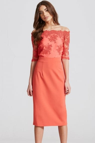 Coral Lace Bardot Midi Dress