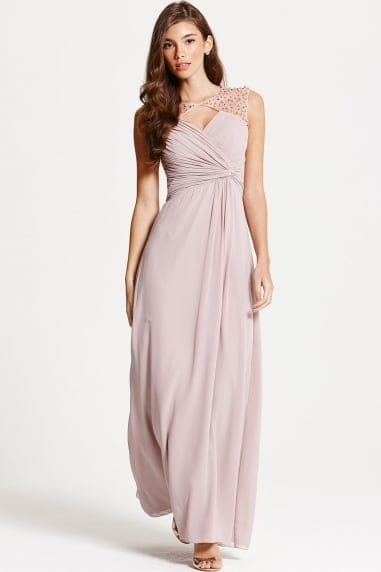 Mink Embellished Shoulder and Drape Front Maxi Dress