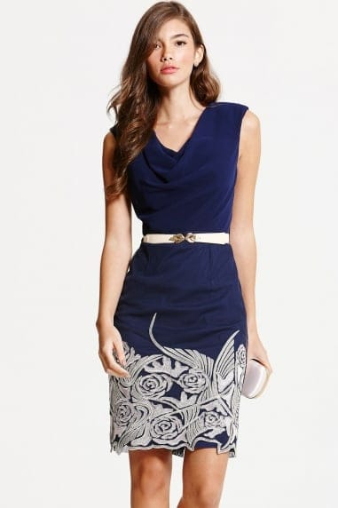 Navy Embroidered Cowl Neck Bodycon Dress