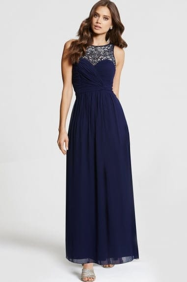 Navy Embellished Maxi Dress