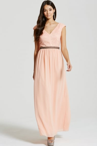 Peach Open Back Embellished Waist Maxi Dress