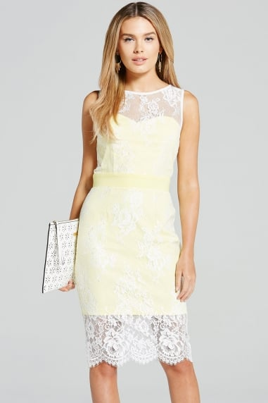 Lemon and Cream Lace Overlay Dress
