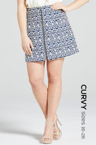 Navy Aztec Zip Front Skirt