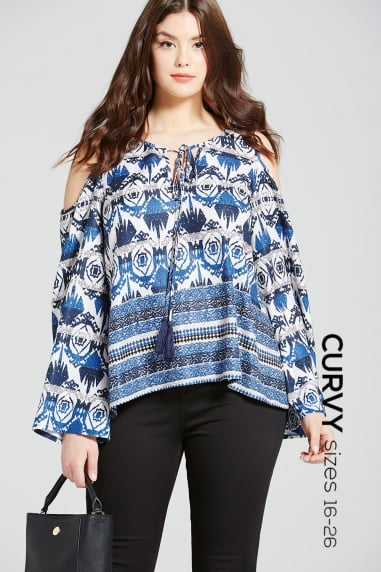 Navy Aztec Cold Shoulder Top