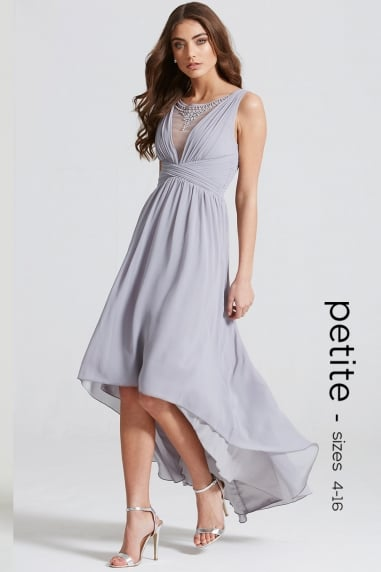 Grey Dipped Hem Maxi Dress