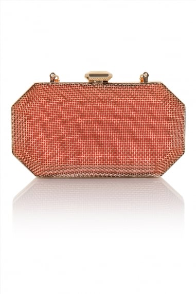 A Coral and Gold Cage Clutch Bag with Detachable Chain Strap