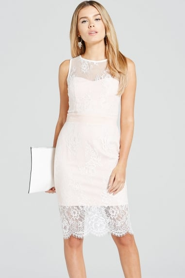 Blush and Cream Lace Overlay Dress