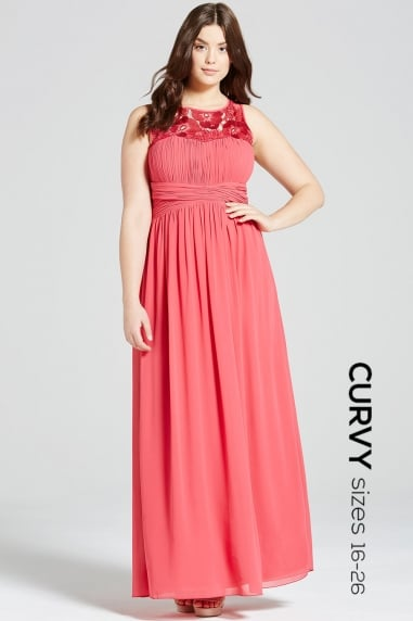 Pink Embroidered Empire Maxi Dress