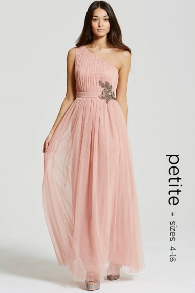 Peach One Shoulder Embellished Maxi Dress