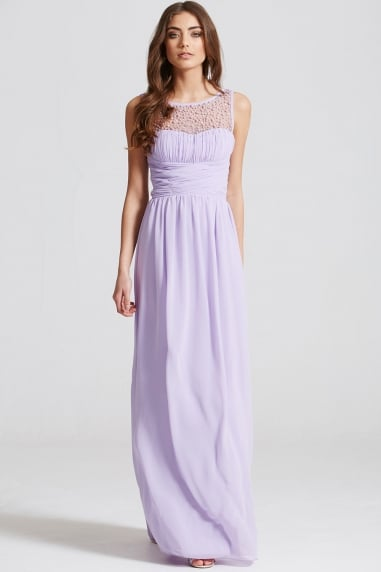 Lilac Embellished Neck Maxi Dress