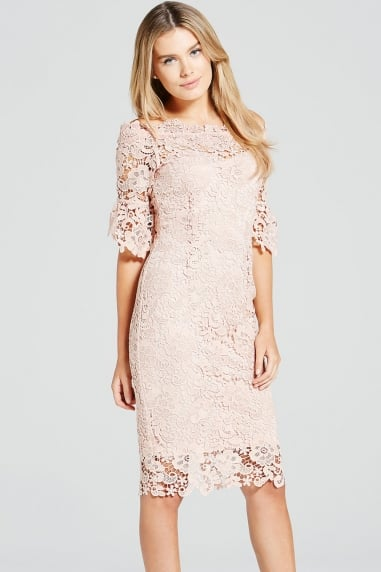 Blush Crochet Lace Bardot Dress