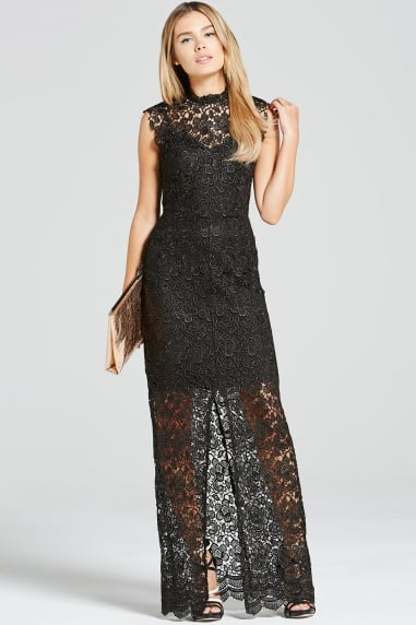 Black Crochet Split Front Maxi Dress
