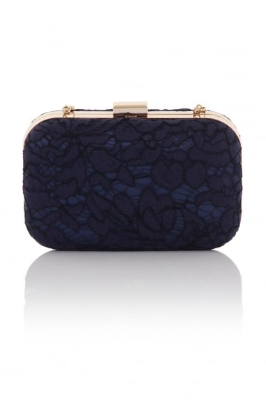 Navy Box Clutch Bag In Lace With Detachable Strap