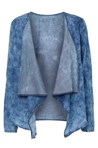 Noisy May Light Denim Drape Jacket