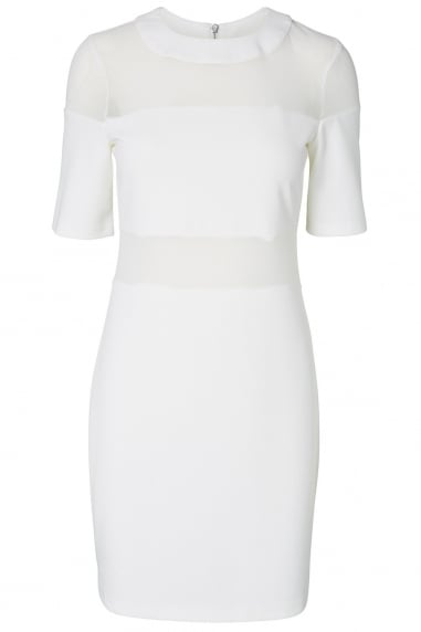 Noisy May White Bodycon Sheer Insert Dress