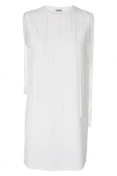 Noisy May White Fringe Sleeveless T Shirt Dress
